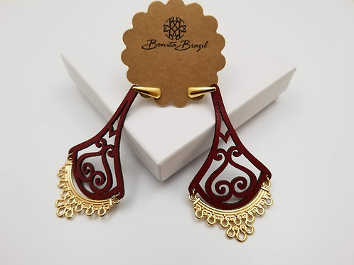 Red Leather Arabesco earring