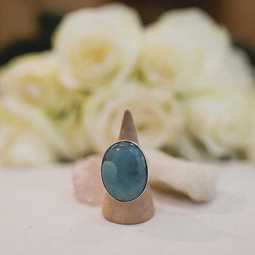 silver larimar ring 7.5