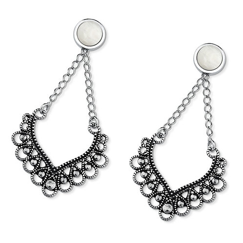 Antique Silver Plated White Howlite Earring
