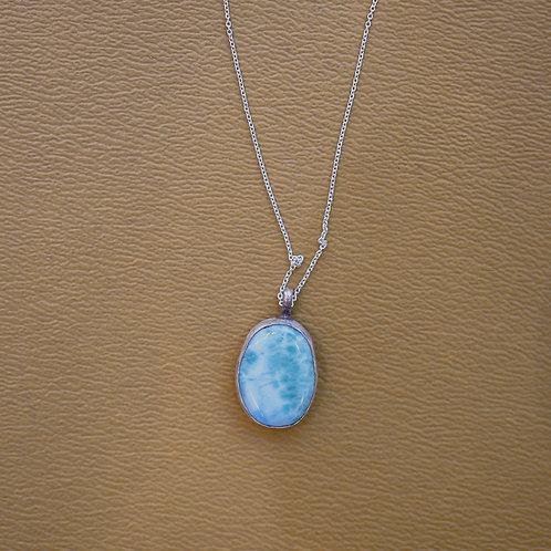 silver larimar necklace