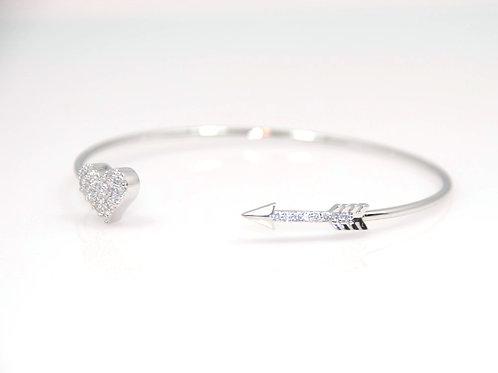 Heart and Arrow rhodium plated bracelet