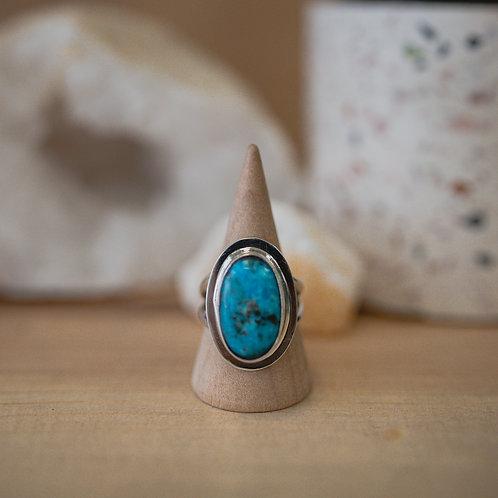 silver chrysocolla ring 8.75