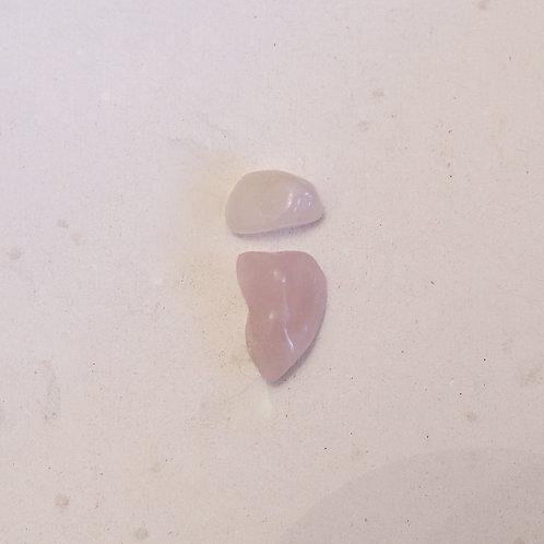 silver tumbled rose quartz gems