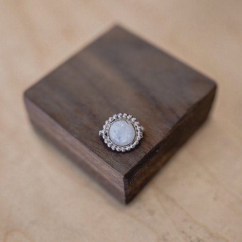 silver rainbow moonstone pin