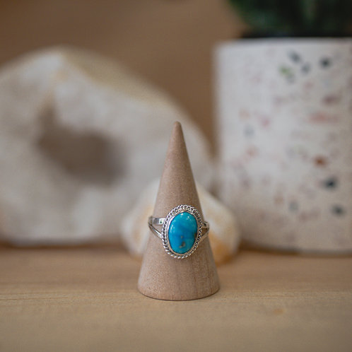 silver turquoise ring 6.75