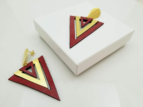 Red and Gold Triangle Leather
