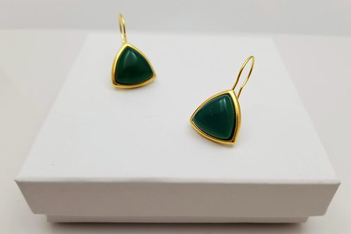 Green Agate Triangle hoop