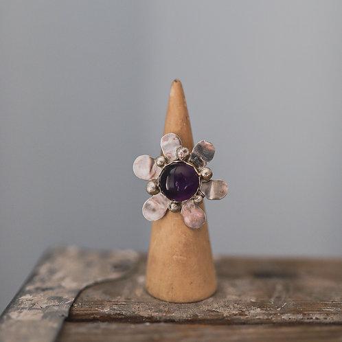 silver amethyst ring 7.75