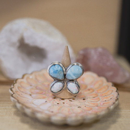 silver larimar and manufactured opal butterfly ring 6.25
