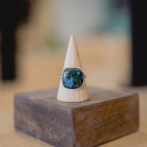 silver chrysocolla ring 8