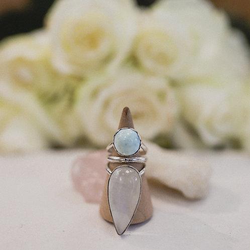 silver larimar and rainbow moonstone ring 5.5