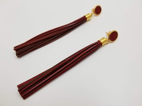 Red Shower Head Leather earring