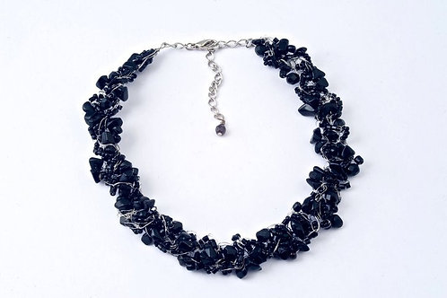 Onyx Thin Crochet Necklace