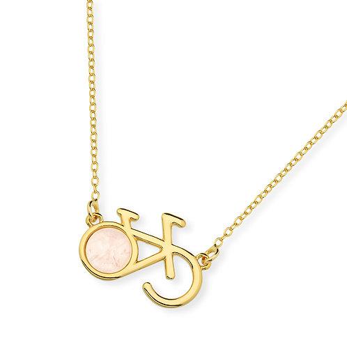 Bike Necklace with Rose Quartz