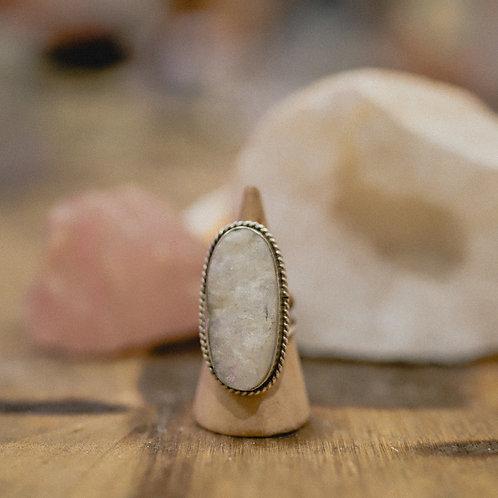 silver raw rainbow moonstone ring 6.25
