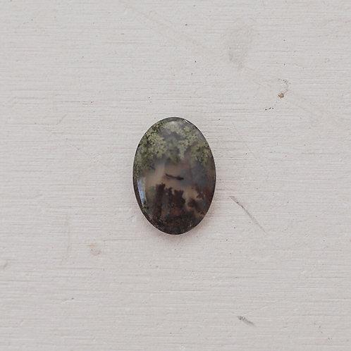 silver mossy agate gem - virgo