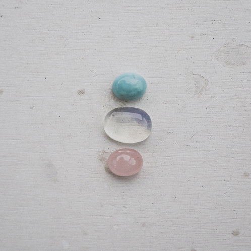 silver larimar, opalite, and rose quartz gems