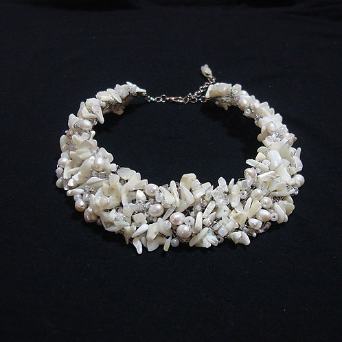 Large Necklace Crochet Mother Pearl