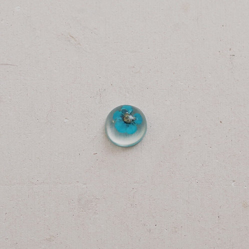 silver resin blue flower gem