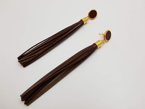 Brown Shower Head Leather earring