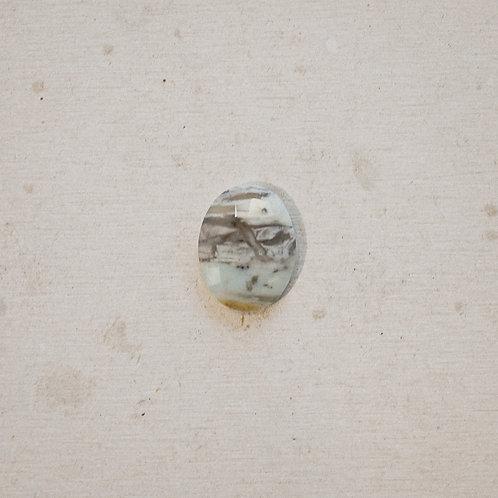 silver faceted peruvian opal gem