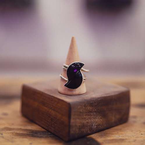 silver onyx ring 11.5