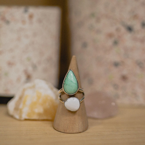 silver variscite and buffalo turquoise ring 6