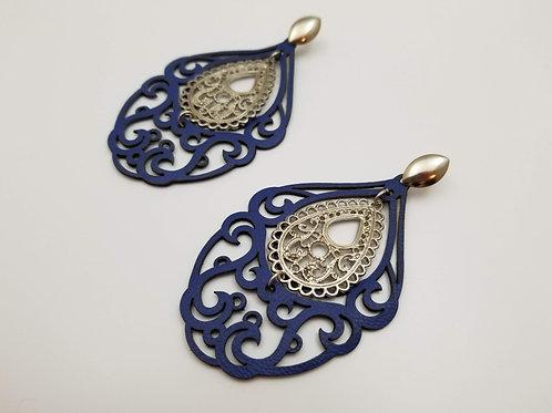 Blue Leather Mandala Arabesco earring