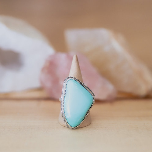 silver turquoise ring 7.5