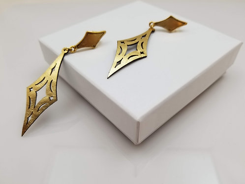 Gold Losange Leather Earring