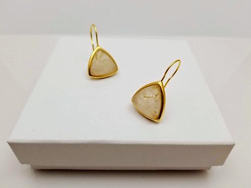 Rutilated Quartz triangle earring
