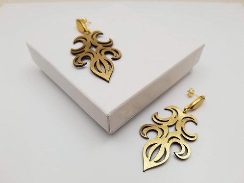 Gold Arabesco 1 leather earring