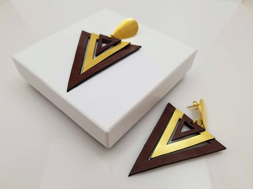 Brown and Gold Triangle Leather