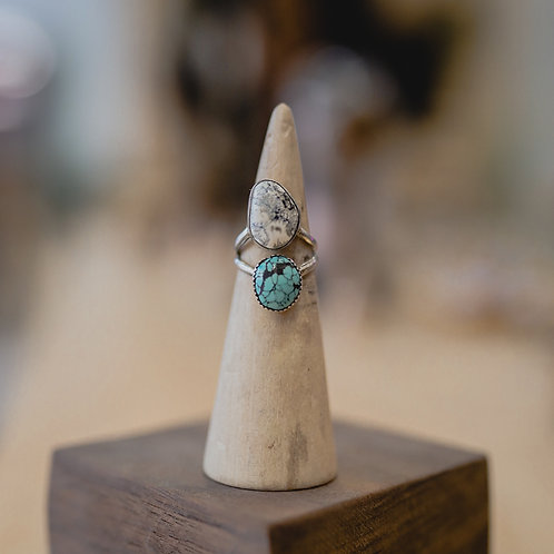 silver turquoiseand buffalo turquoise ring 5.75