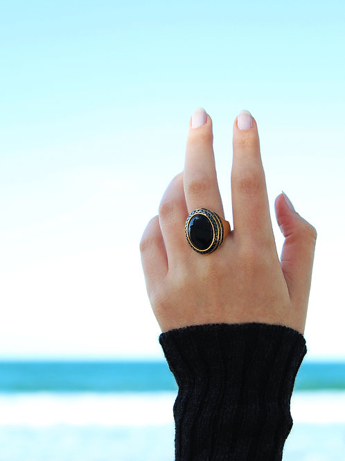 Gold Black Agate ring