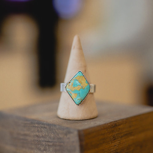 silver turquoise ring 8.75