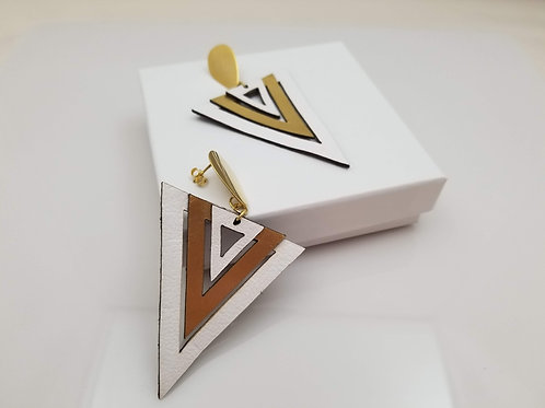 White and Gold Triangle Leather