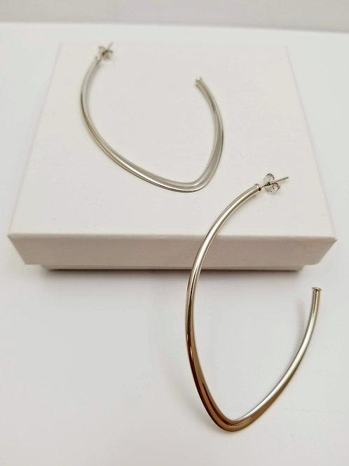 Long Drop Rhodium Earrings