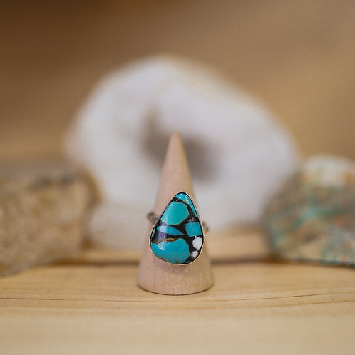silver manufactured turquoise and buffalo turquoise ring 7