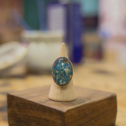 silver resin flower ring 6.5