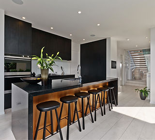 Dramatic black kitchen