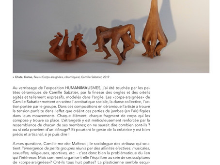 Par Geneviève Fabre Petroff, review sur les corps araignées, Camille Sabatier
