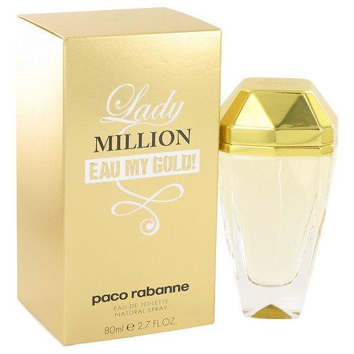 Lady Million Eau My Gold by Paco Rabanne 2.7 oz Eau De Toilette Spray