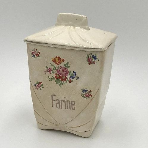 仏アンティーク陶器キャニスターFARINE