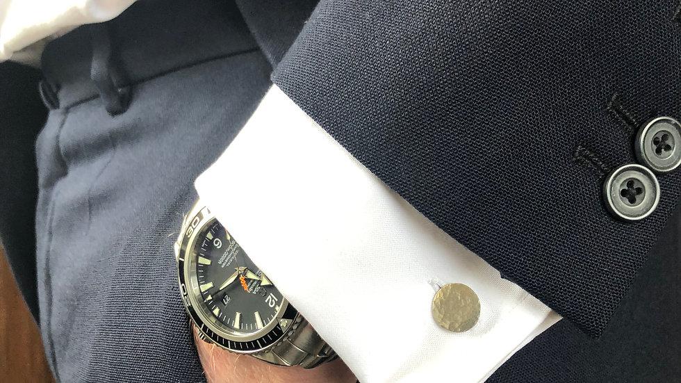 Flat Silver Button Cufflinks