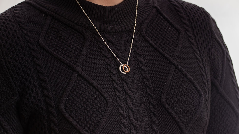 Copper and Silver Circle Necklace