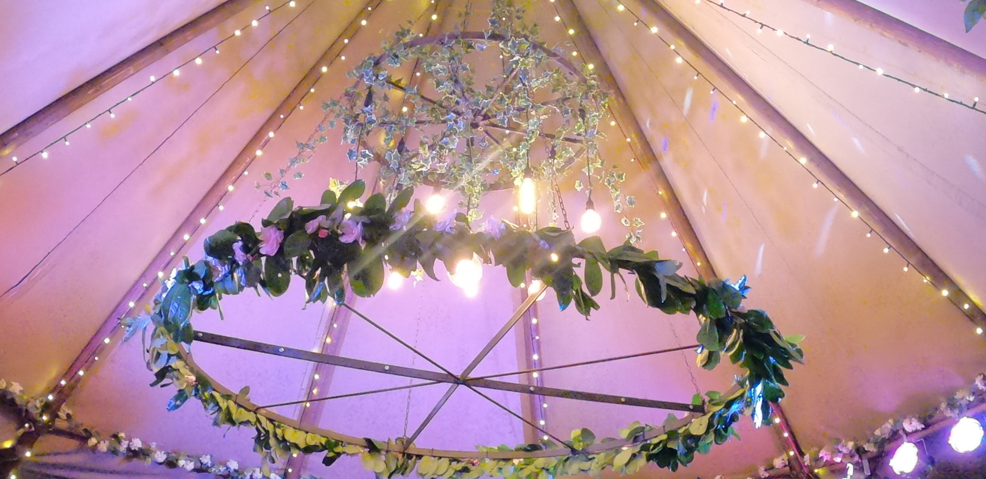 Tipi Chandelier and Flower Wheel