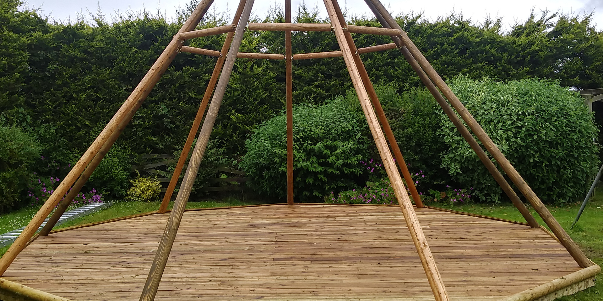 Tipi Poles on Timber Floor