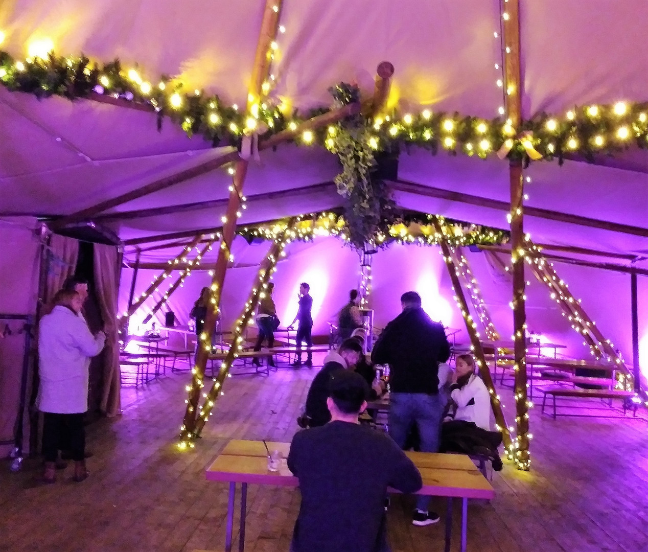 Purple lit Tepee Pub
