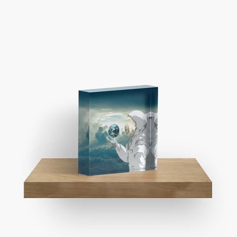 Thoughtful Spaceman Acrylic Block